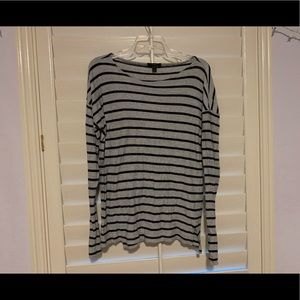 J Crew gray 100% cotton striped top
